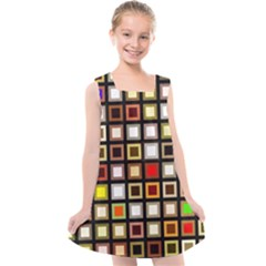 Squares Colorful Texture Modern Art Kids  Cross Back Dress