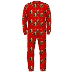 Trump Wrait Pattern Make Christmas Great Again Maga Funny Red Gift With Snowflakes And Trump Face Smiling Onepiece Jumpsuit (men)  by snek