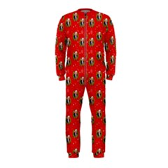 Trump Wrait Pattern Make Christmas Great Again Maga Funny Red Gift With Snowflakes And Trump Face Smiling Onepiece Jumpsuit (kids)