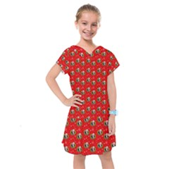 Trump Wrait Pattern Make Christmas Great Again Maga Funny Red Gift With Snowflakes And Trump Face Smiling Kids  Drop Waist Dress