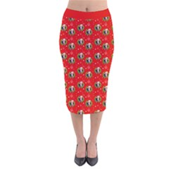 Trump Wrait Pattern Make Christmas Great Again Maga Funny Red Gift With Snowflakes And Trump Face Smiling Velvet Midi Pencil Skirt by snek