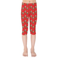 Trump Wrait Pattern Make Christmas Great Again Maga Funny Red Gift With Snowflakes And Trump Face Smiling Kids  Capri Leggings  by snek