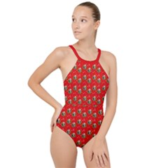 Trump Wrait Pattern Make Christmas Great Again Maga Funny Red Gift With Snowflakes And Trump Face Smiling High Neck One Piece Swimsuit by snek