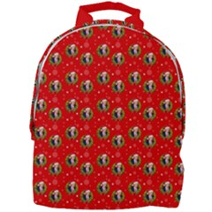 Trump Wrait Pattern Make Christmas Great Again Maga Funny Red Gift With Snowflakes And Trump Face Smiling Mini Full Print Backpack by snek