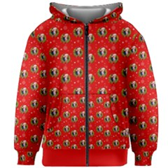 Trump Wrait Pattern Make Christmas Great Again Maga Funny Red Gift With Snowflakes And Trump Face Smiling Kids Zipper Hoodie Without Drawstring