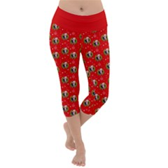 Trump Wrait Pattern Make Christmas Great Again Maga Funny Red Gift With Snowflakes And Trump Face Smiling Lightweight Velour Capri Yoga Leggings by snek