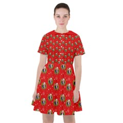 Trump Wrait Pattern Make Christmas Great Again Maga Funny Red Gift With Snowflakes And Trump Face Smiling Sailor Dress