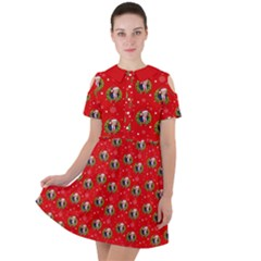 Trump Wrait Pattern Make Christmas Great Again Maga Funny Red Gift With Snowflakes And Trump Face Smiling Short Sleeve Shoulder Cut Out Dress  by snek