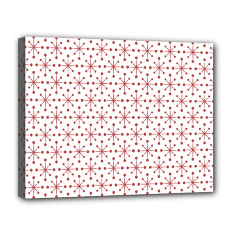 Pattern Christmas Pattern Red Stars Canvas 14  X 11  (stretched)