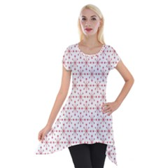 Pattern Christmas Pattern Red Stars Short Sleeve Side Drop Tunic