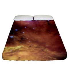 Comic Astronomy Sky With Stars Orange Brown And Yellow Fitted Sheet (queen Size) by snek