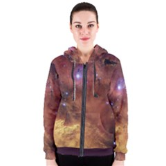 Comic Astronomy Sky With Stars Orange Brown And Yellow Women s Zipper Hoodie