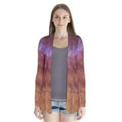 Comic Astronomy Sky With Stars Orange Brown And Yellow Drape Collar Cardigan by snek