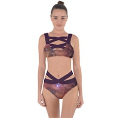 Cosmic Astronomy Sky With Stars Orange Brown And Yellow Bandaged Up Bikini Set  by genx