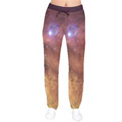 Comic Astronomy Sky With Stars Orange Brown And Yellow Velvet Drawstring Pants