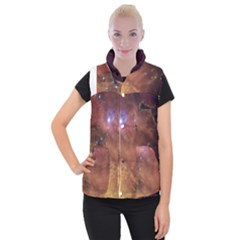 Comic Astronomy Sky With Stars Orange Brown And Yellow Women s Button Up Vest by genx