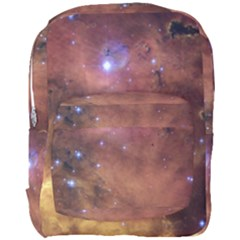Comic Astronomy Sky With Stars Orange Brown And Yellow Full Print Backpack by snek