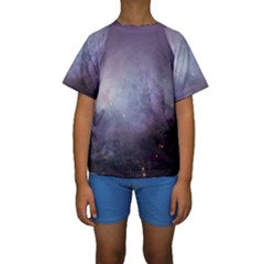 Orion Nebula Pastel Violet Purple Turquoise Blue Star Formation Kids  Short Sleeve Swimwear by snek