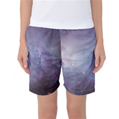 Orion Nebula Pastel Violet Purple Turquoise Blue Star Formation Women s Basketball Shorts by genx