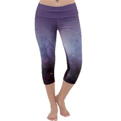 Orion Nebula Pastel Violet Purple Turquoise Blue Star Formation Capri Yoga Leggings by genx