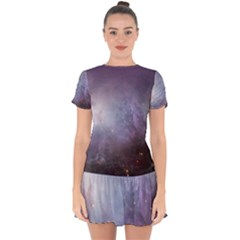 Orion Nebula Pastel Violet Purple Turquoise Blue Star Formation Drop Hem Mini Chiffon Dress by snek