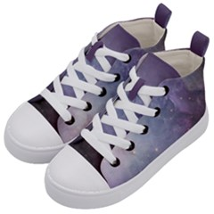 Orion Nebula Pastel Violet Purple Turquoise Blue Star Formation Kid s Mid Top Canvas Sneakers by snek
