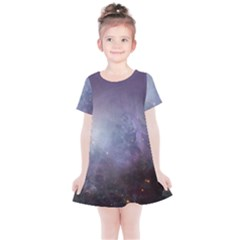 Orion Nebula Pastel Violet Purple Turquoise Blue Star Formation Kids  Simple Cotton Dress by snek