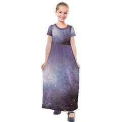 Orion Nebula Pastel Violet Purple Turquoise Blue Star Formation Kids  Short Sleeve Maxi Dress by genx