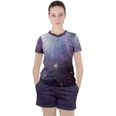 Orion Nebula Pastel Violet Purple Turquoise Blue Star Formation Women s Tee And Shorts Set