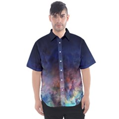 Lagoon Nebula Interstellar Cloud Pastel Pink, Turquoise And Yellow Stars Men s Short Sleeve Shirt by genx