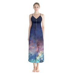 Lagoon Nebula Interstellar Cloud Pastel Pink, Turquoise And Yellow Stars Button Up Chiffon Maxi Dress by genx