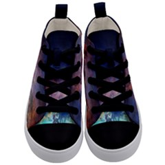 Lagoon Nebula Interstellar Cloud Pastel Pink, Turquoise And Yellow Stars Kid s Mid Top Canvas Sneakers