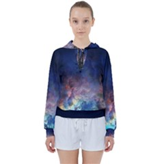 Lagoon Nebula Interstellar Cloud Pastel Pink, Turquoise And Yellow Stars Women s Tie Up Sweat by genx