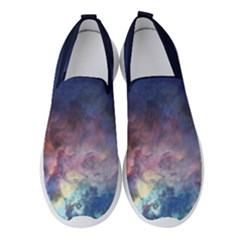Lagoon Nebula Interstellar Cloud Pastel Pink, Turquoise And Yellow Stars Women s Slip On Sneakers by genx