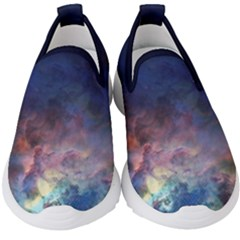 Lagoon Nebula Interstellar Cloud Pastel Pink, Turquoise And Yellow Stars Kids  Slip On Sneakers by genx
