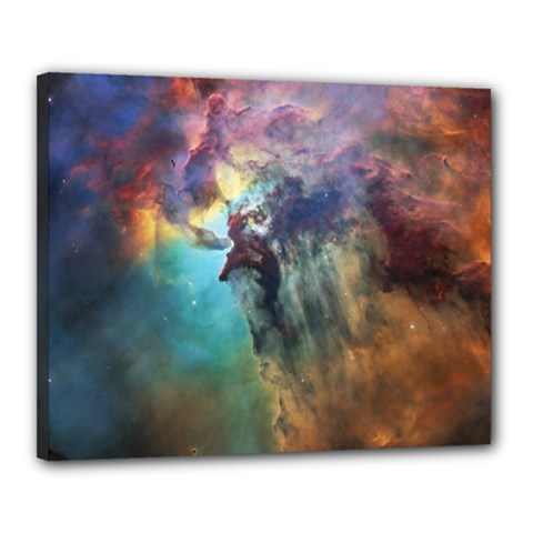 Lagoon Nebula Interstellar Cloud Pastel Pink, Turquoise And Yellow Stars Canvas 20  X 16  (stretched) by genx
