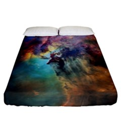 Lagoon Nebula Interstellar Cloud Pastel Pink, Turquoise And Yellow Stars Fitted Sheet (california King Size) by genx