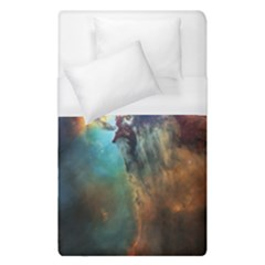 Lagoon Nebula Interstellar Cloud Pastel Pink, Turquoise And Yellow Stars Duvet Cover (single Size) by genx