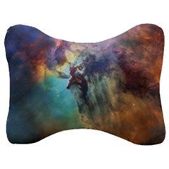 Lagoon Nebula Interstellar Cloud Pastel Pink, Turquoise And Yellow Stars Velour Seat Head Rest Cushion by snek