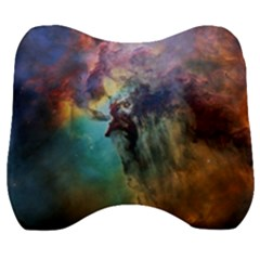 Lagoon Nebula Interstellar Cloud Pastel Pink, Turquoise And Yellow Stars Velour Head Support Cushion by snek