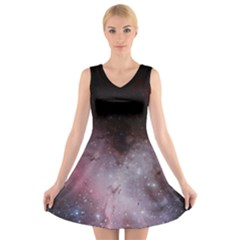 Eagle Nebula Wine Pink And Purple Pastel Stars Astronomy V Neck Sleeveless Dress by genx