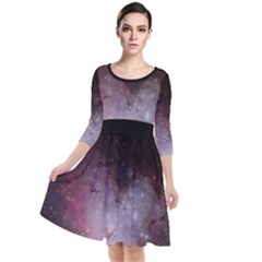 Eagle Nebula Wine Pink And Purple Pastel Stars Astronomy Quarter Sleeve Waist Band Dress by genx