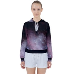Eagle Nebula Wine Pink And Purple Pastel Stars Astronomy Women s Tie Up Sweat by genx