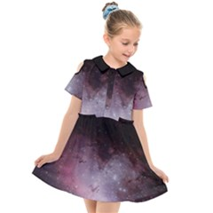 Eagle Nebula Wine Pink And Purple Pastel Stars Astronomy Kids  Short Sleeve Shirt Dress by genx