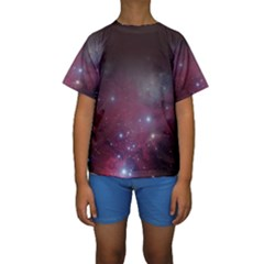 Christmas Tree Cluster Red Stars Nebula Constellation Astronomy Kids  Short Sleeve Swimwear by genx
