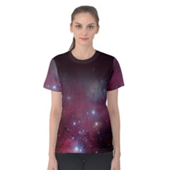Christmas Tree Cluster Red Stars Nebula Constellation Astronomy Women s Cotton Tee by genx