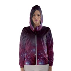 Christmas Tree Cluster Red Stars Nebula Constellation Astronomy Hooded Windbreaker (women) by genx