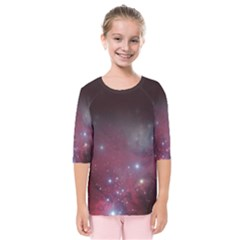 Christmas Tree Cluster Red Stars Nebula Constellation Astronomy Kids  Quarter Sleeve Raglan Tee by snek