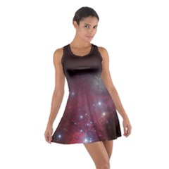Christmas Tree Cluster Red Stars Nebula Constellation Astronomy Cotton Racerback Dress by snek
