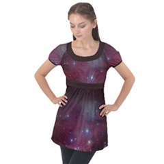 Christmas Tree Cluster Red Stars Nebula Constellation Astronomy Puff Sleeve Tunic Top by genx